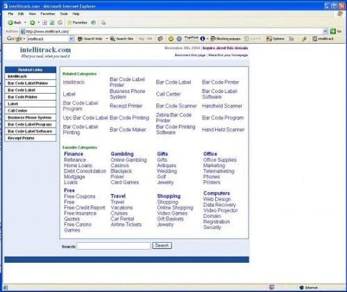 IntelliTrack.com 11-10-04 After UDRP Filing