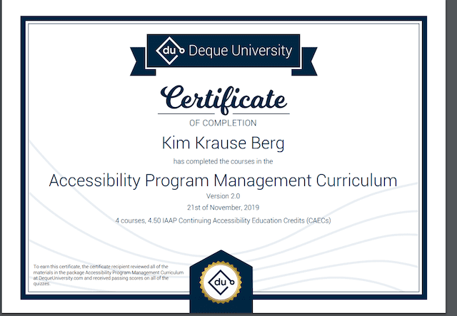 Certificate of Completion on Accessibility Program Management