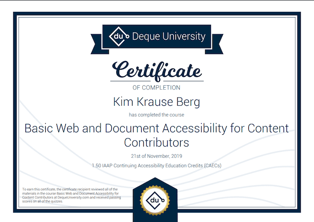 Certificate of Completion on Basic Web and Document Accessibility