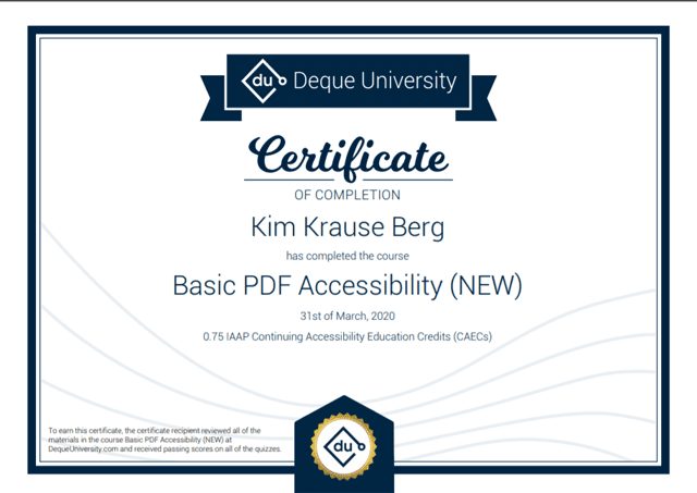 Certificate of Completion on Basic PDF Accessibility